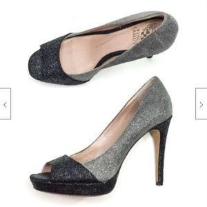 Vince Camuto Timmons Metallic Peep Toe Heels 6.5